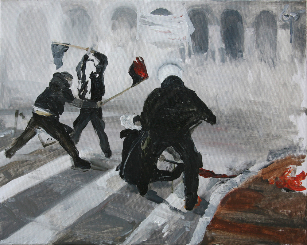 Mona Vatamanu & Florin Tudor   Riot Series (#5) , 2009 oil on canvas 15.75 x 19.69 inches 40 x 50 cm