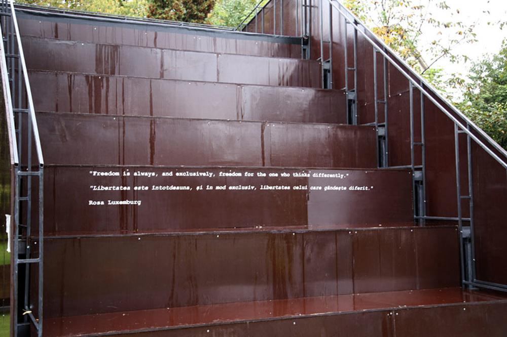 Mona Vatamanu & Florin Tudor   Piata Rosa Luxemburg , 2008 wood, metal, self adhesive vinyl letters variable dimensions