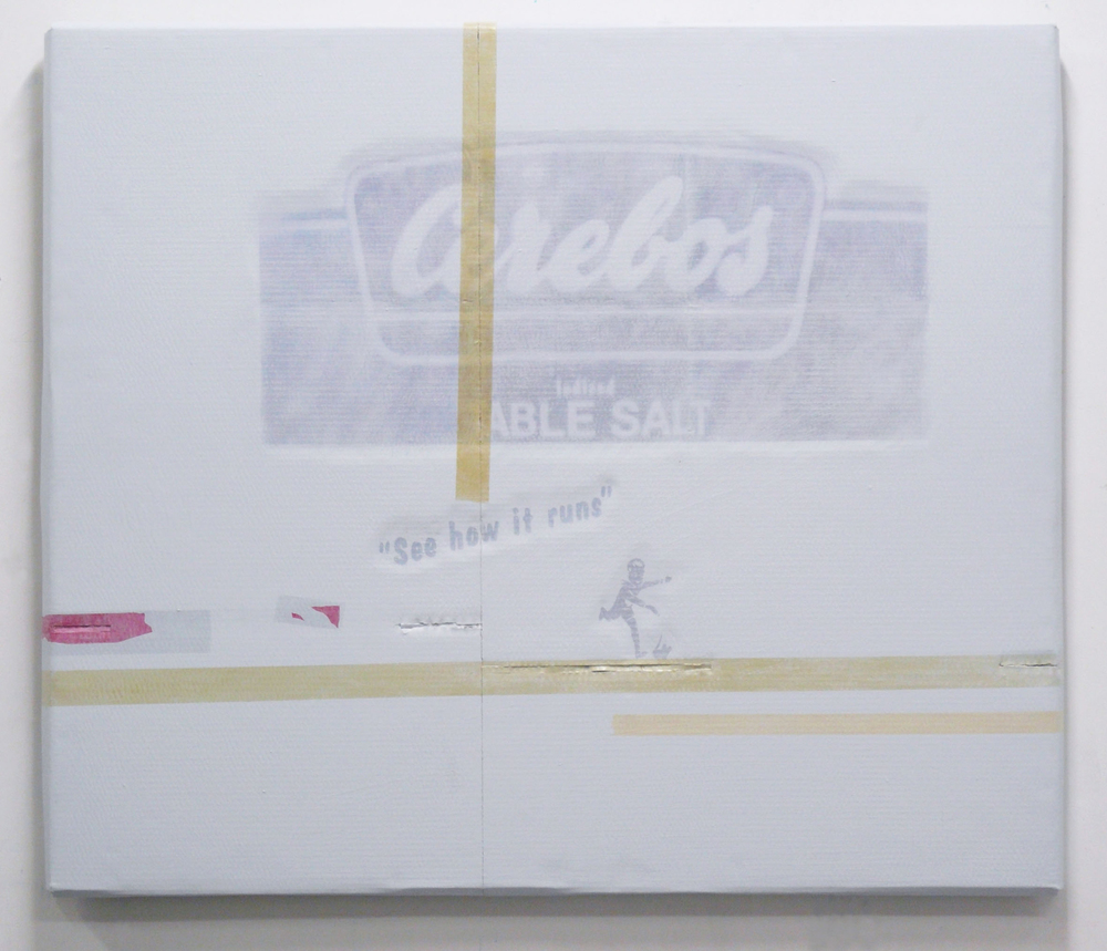 "Lee Kit   Cerebos- ""See how it runs"" , 2011 acrylic, emulsion paint and inkjet ink on cardboard 38.98 x 45.28 x 2 inches 99 x 115 cm"