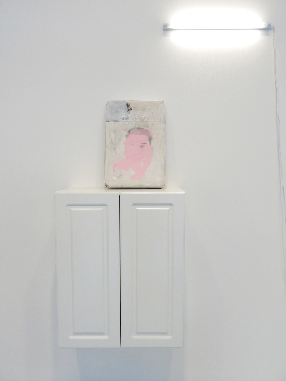 Lee Kit   2 , 2014 acrylic, emulsion paint, correction ink, pencil, and inkjet ink on cardboard painting: 12.6 x 17.91 x 2.95 inches 32 x 45.5 x 7.5 cm installation: dimensions variable