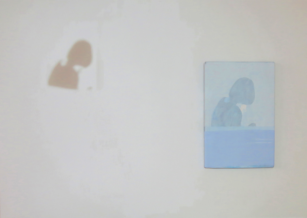 Lee Kit   5 , 2014 projection and painting painting: 36 x 24 inches 91.4 x 61 cm installation: dimensions variable