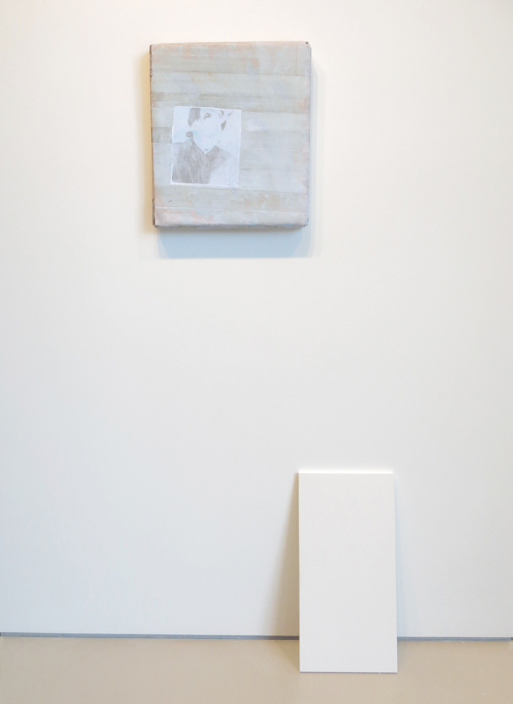 Lee Kit   1 , 2014 acrylic, emulsion paint, correction ink and inkjet ink on cardboard painting: 17.52 x 19.29 x 1.97 inches 44.5 x 49 x 5 cm installation: dimensions variable