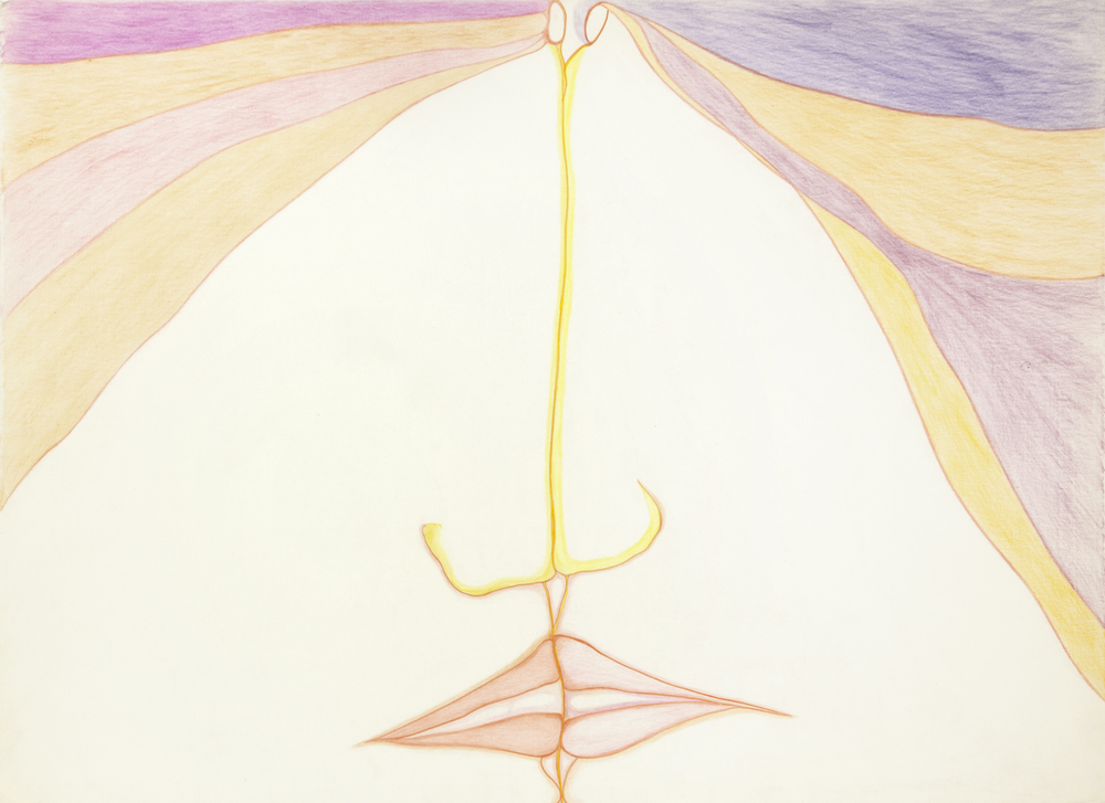 Huguette Caland   Untitled , 1985 color pencil on paper 20.08 x 27.56 inches 51 x 70 cm