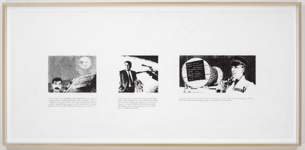 Michael Rakowitz   Around the Moon (Strike the Empire Back series)  , 2009   pencil on vellum   27 x 56 inches (framed)   68.6 x 142.2 cm