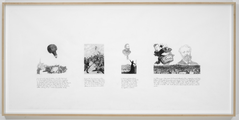 Michael Rakowitz   The Balloon is Going Up -The War Has Begun (Strike the Empire Back Series)  , 2009   pencil on vellum   27 x 55 inches (framed)   68.6 x 139.7 cm