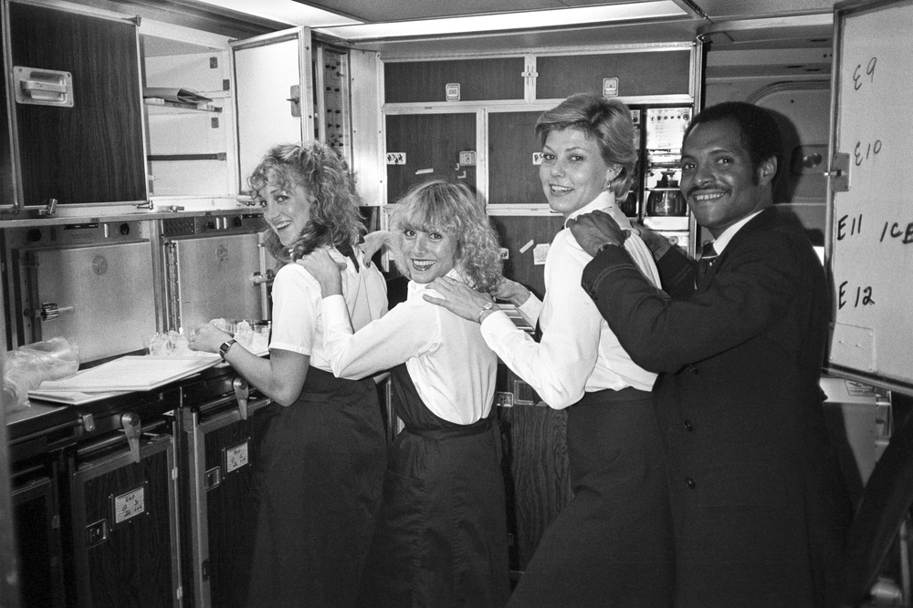 Lucien Samaha   Mid-Flight Back Rub FCO-JFK (The Flight Attendant Years) , 1982, printed 2013 archival pigment print 12.5 x 17.5 inches 31.8 x 44.5 cm