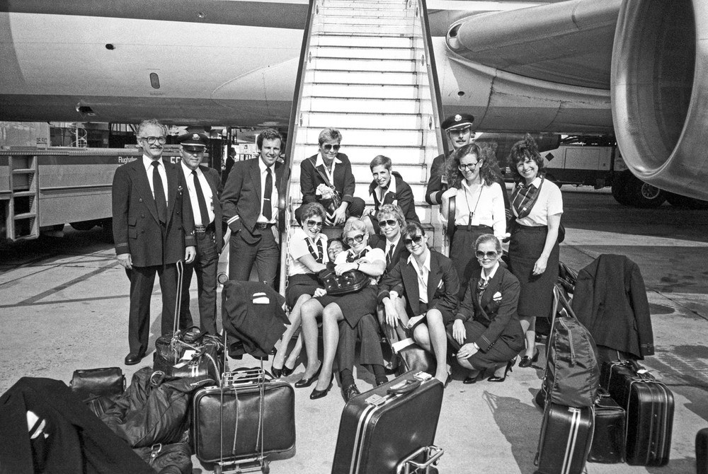 Lucien Samaha   Cockpit and Cabin Crews, Flughafen Frankfurt am Main (The Flight Attendant Years) , 1983, printed 2013 archival pigment print 21 x 29.75 inches 53.3 x 75.6 cm