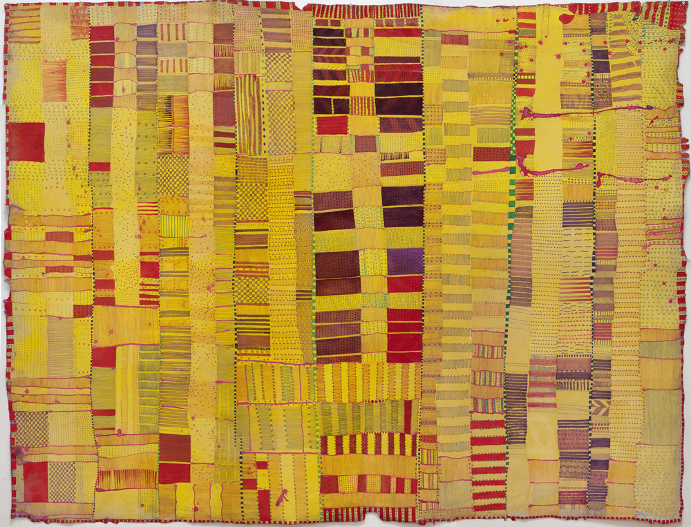 Huguette Caland   Untitled , 2011 mixed media on canvas 76 x 58 inches 193 x 147.3 cm