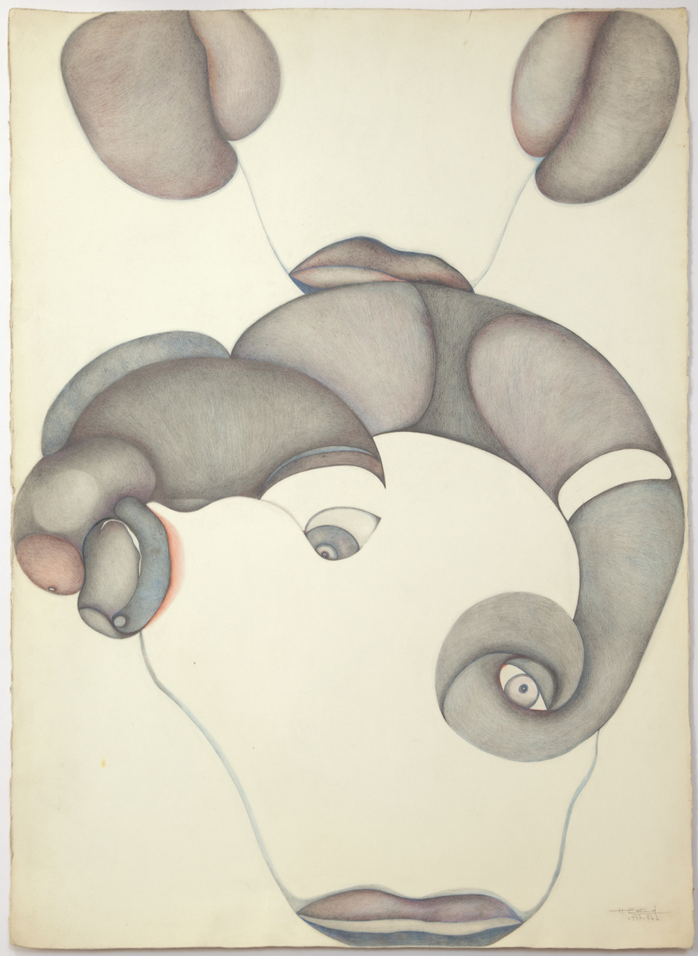 """635_color pencil on paper_30 x 22.25""""_ 1984_AB.jpg"""
