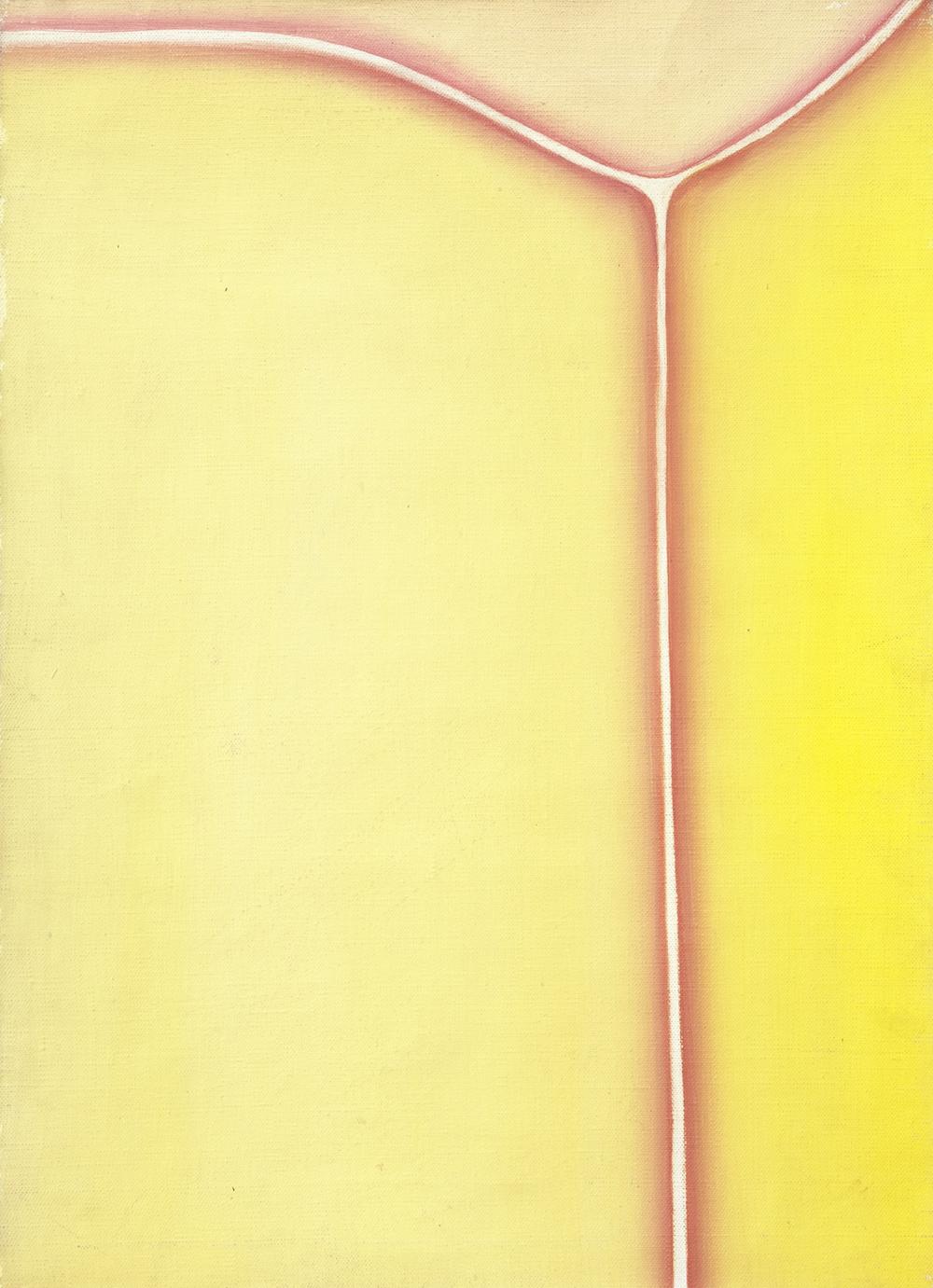 Huguette Caland   Bribes de Corps , 1973 oil on linen 19 x 13.75 inches 48.3 x 34.9 cm