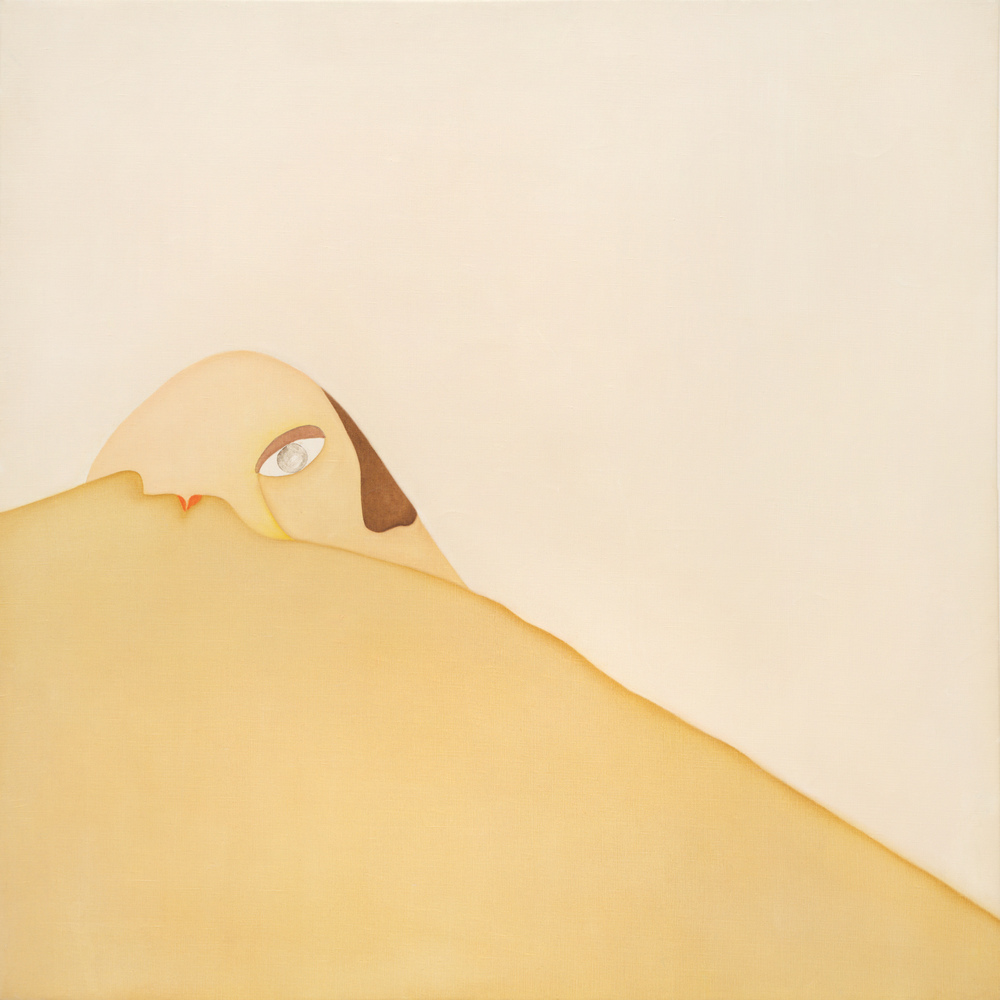 Huguette Caland   Sunrise , 1973 oil on linen 39.5 x 39.5 inches 100.3 x 100.3 cm