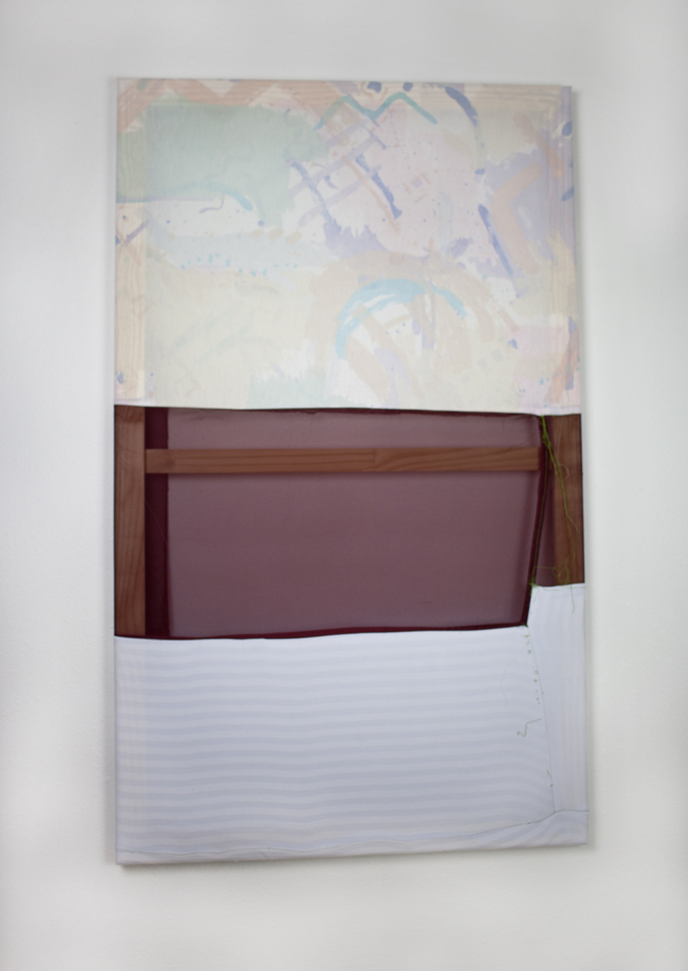 Tameka Norris   Gomer (Contrapposto series) , 2013 bedsheets, found fabric, and thread 50 x 30 inches 127 x 76.2 cm