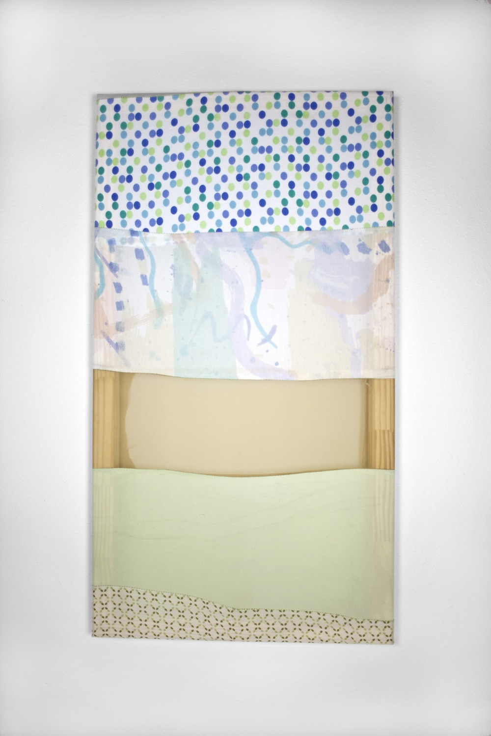 Tameka Norris   Hamutal (Contrapposto series) , 2013 bedsheets, found fabric, and thread 44 x 24 inches 111.8 x 61 cm