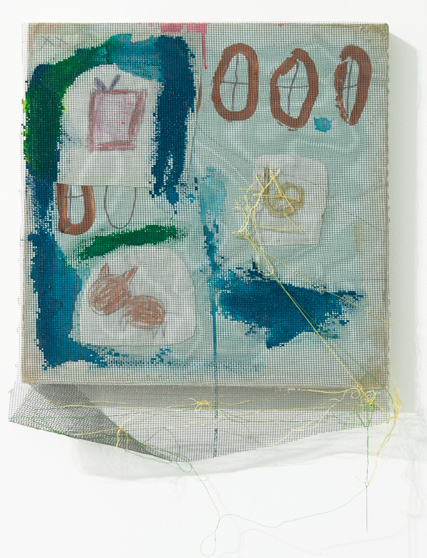 Tameka Norris   Lexicon #12 , 2012 mesh, photo paper, thread, needle, and acrylic paint on wood panel 12 x 12 inches 30.5 x 30.5 cm