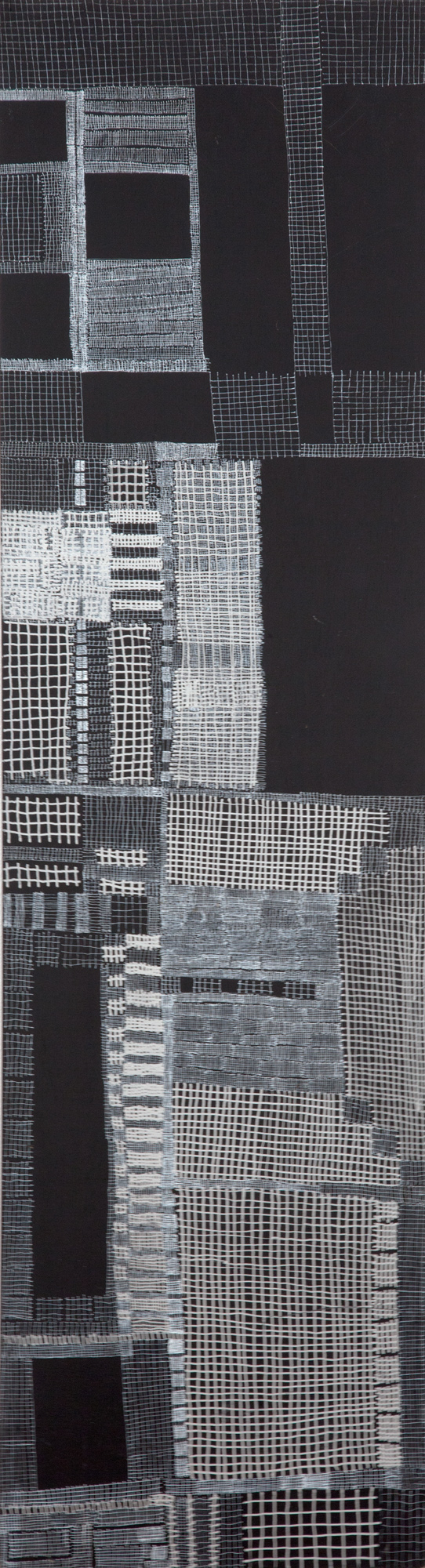 "918_City Scapes_pen on panel_29.5 x 8""_1999.jpg"