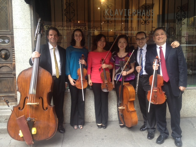 The Memling Ensemble including (from left) bassist Emil Botti, violinists Sarah Crocker and Jeehae Lee, cellist Miho Zaitsu, flutist Maron Khoury, and violist Vincent Lionti. All but Mr. Botti and Ms. Zaitsu are MET Orchestra Musicians.