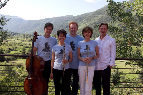 Pleasure is the Law: cellist Darrett Adkins, Elaine Douvas, pianist Steve Beck, and Nadine Asin flute, with conductor Christian Arming at Aspen (notice Debussy t-shirts and his quote)