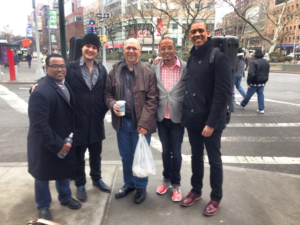 From Left to Right: Billy Hunter, Ryan Kierman, New York Philharmonic Principal Trombonist Joseph Alessi, Brandon Ruiters, and Weston Sprott