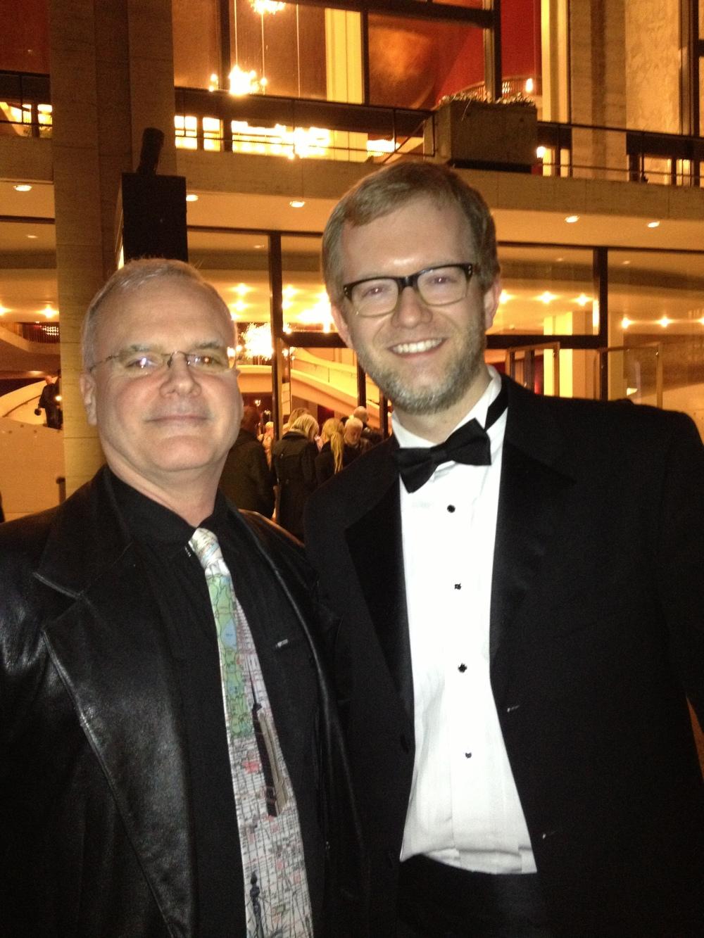 Daniel McCaughan and principal timpanist Jason Haaheim in Lincoln Center Plaza