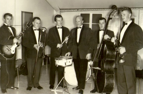 Höskuldur Stefánsson, third from right, and Làrus Sveinsson, far right, with their local band in the 1950s