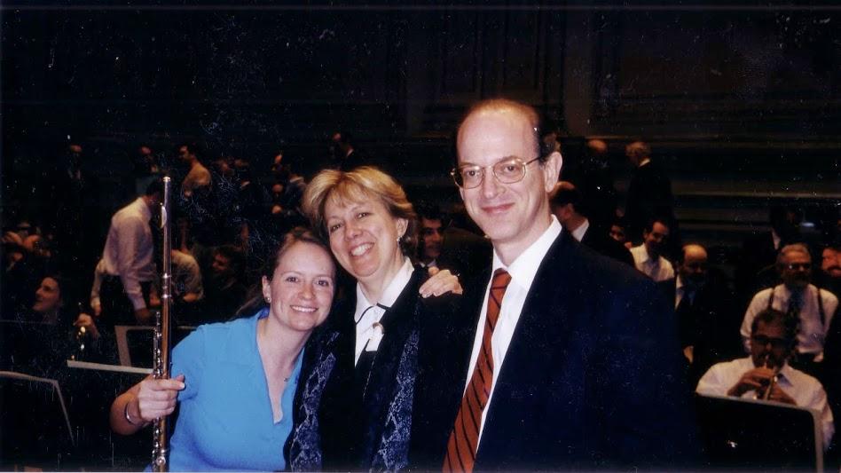 (L-R) Principal Piccolo Stephanie Mortimore, Mary Ann Archer, and Principal Flute (ret.) Michael Parloff