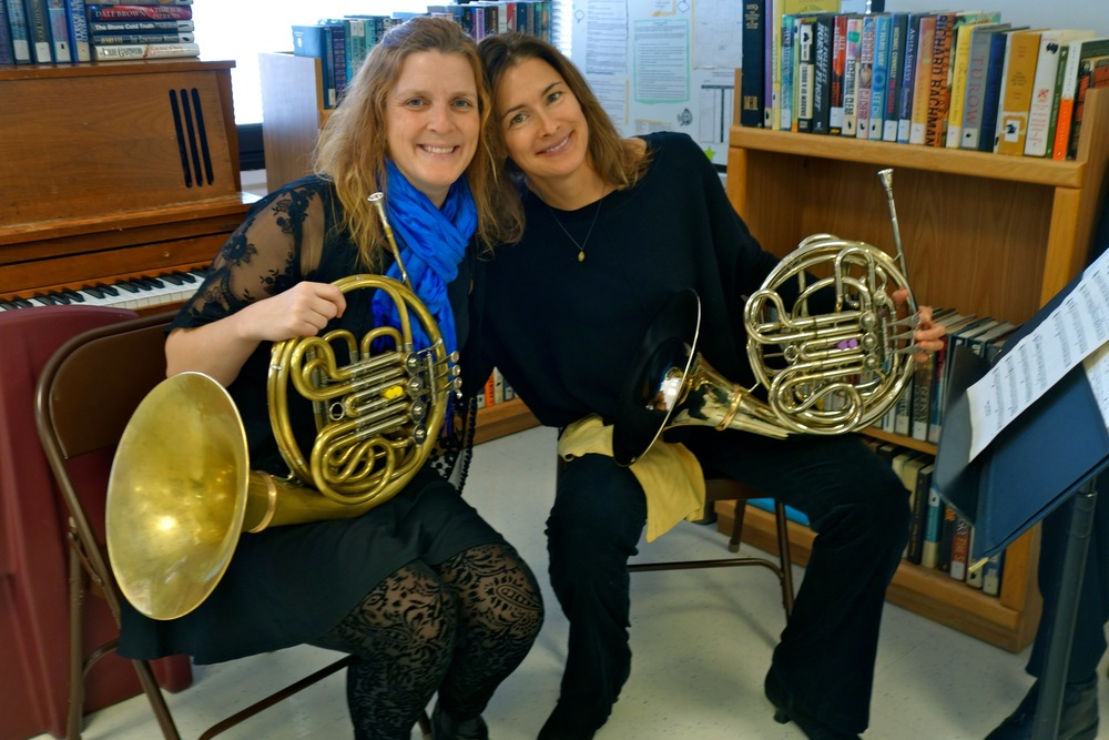 Barbara Jöstlein Currie and Anne Scharer before the brass performance.