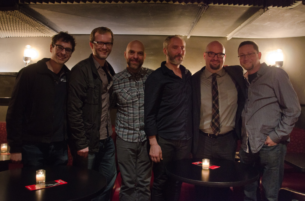 L to R: Rob Knopper, MET Orchestra percussionist; Jason Haaheim, MET Orchestra principal timpanist; Dave King, Bad Plus drummer; Reid Anderson, Bad Plus bassist; Ethan Iverson, Bad Plus pianist; Chris Hall, MET Orchestra tubist ( after a show at the Jazz Standard)