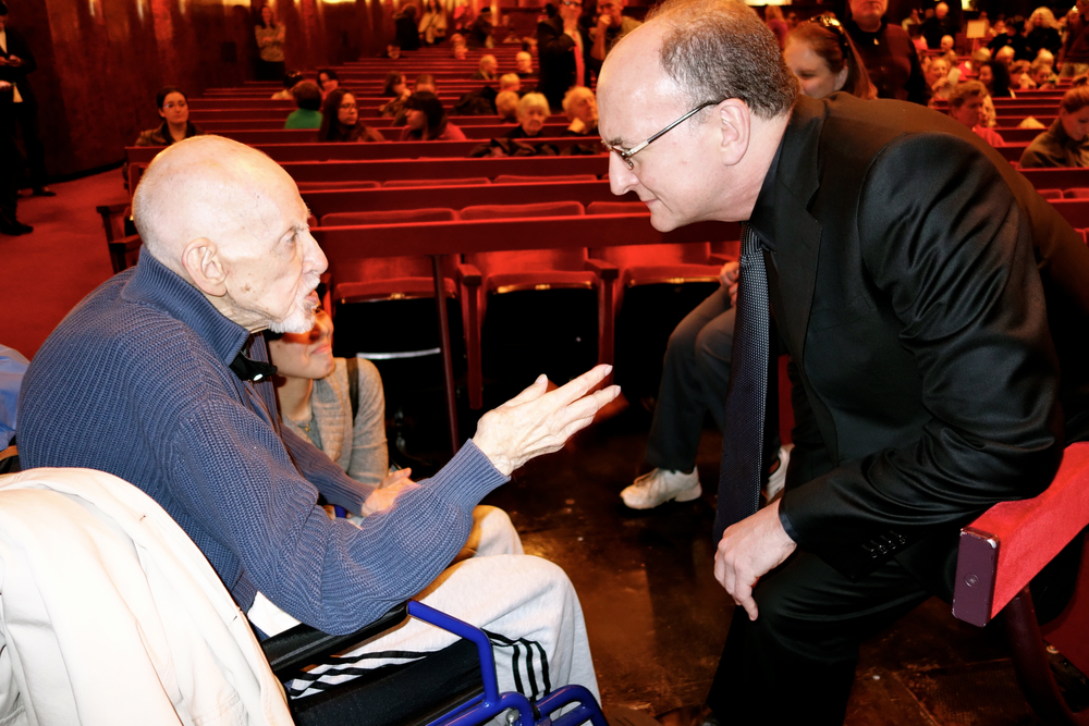 Elster converses with Met General Manager Peter Gelb during the intermission of the morning dress rehearsal.