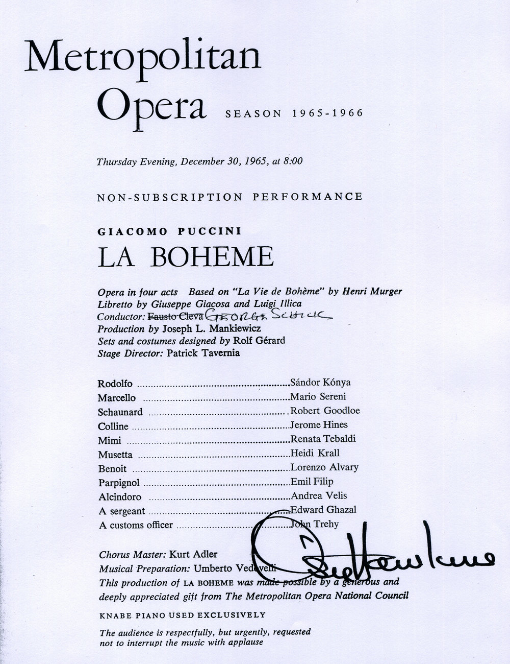 The cast list for La Bohème, December 30, 1965