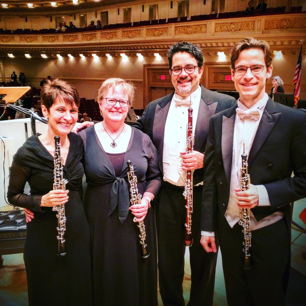 (L-R) MET Orchestra oboists Elaine Douvas, Susan Spector, Pedro Díaz, and Nathan Hughes