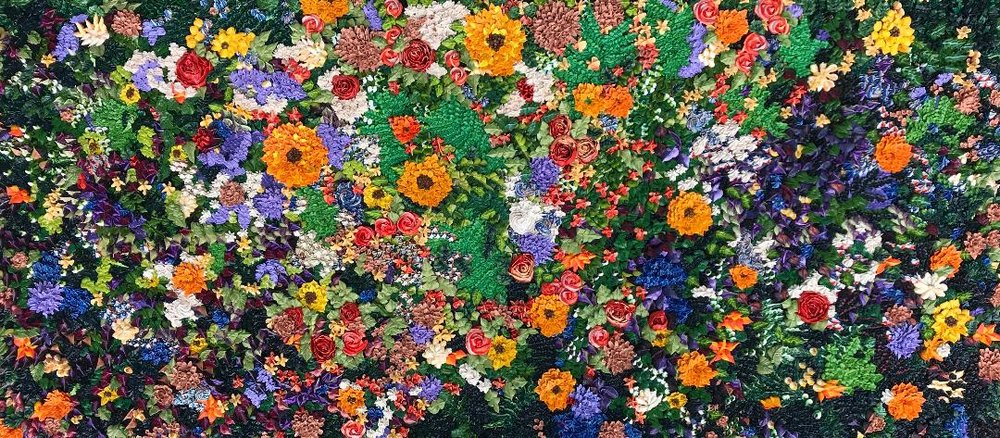 Top view of Chelsea's flower painting