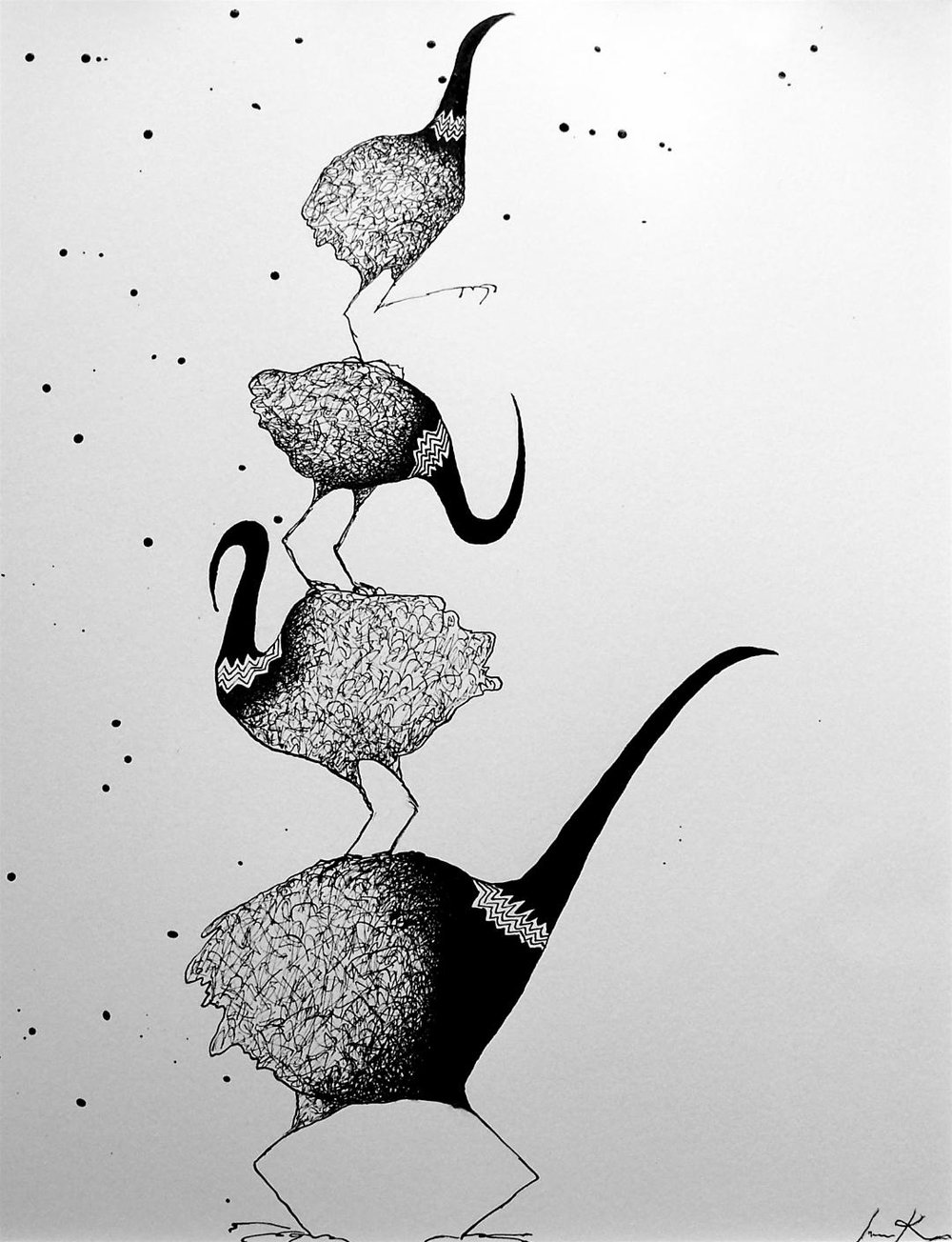 A pen and ink drawing, Kimu1, from a larger series