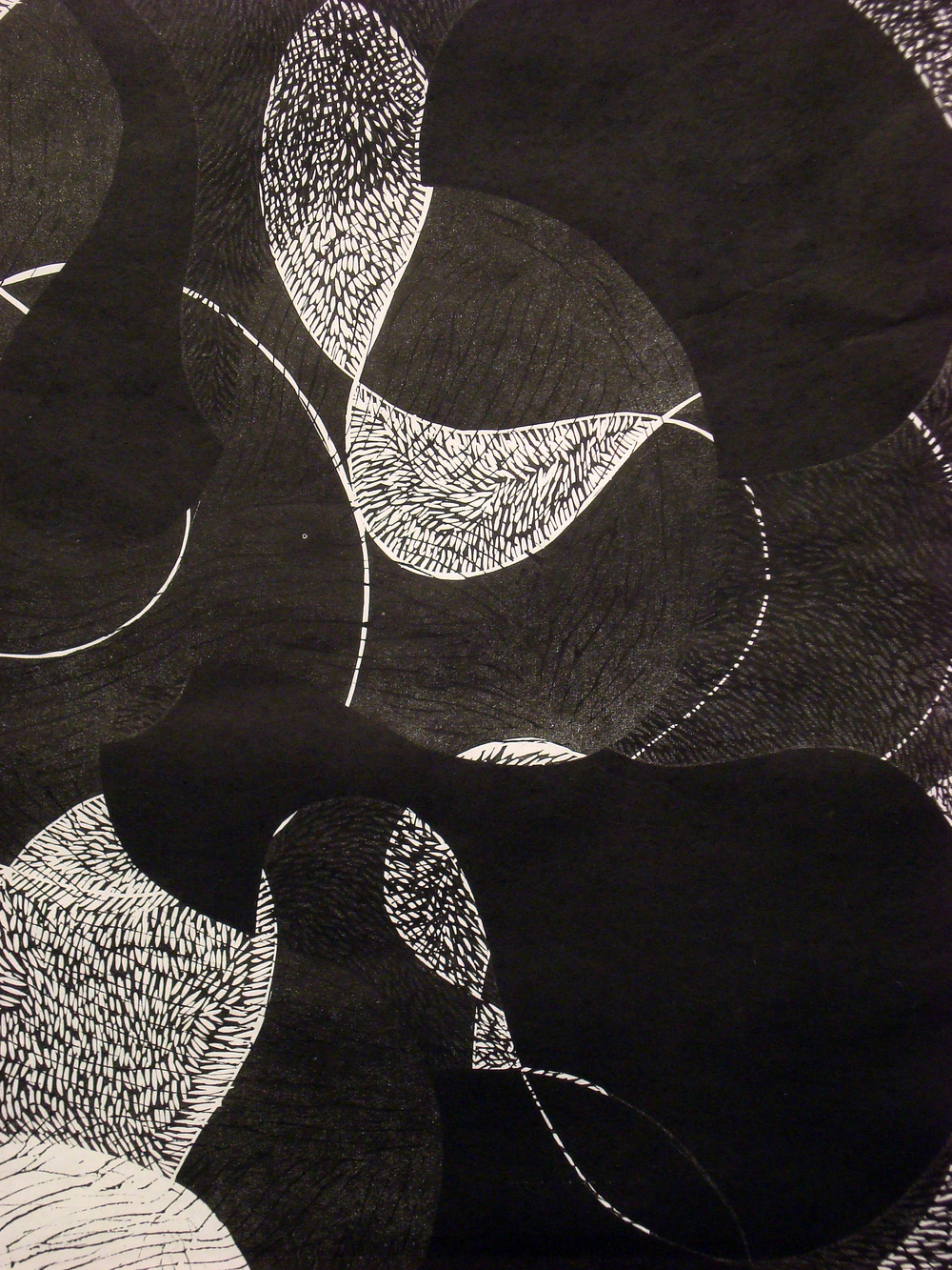 "Prop Series: Dark Night Flip, blockprint,  detail, 36""x24"""", 2013"