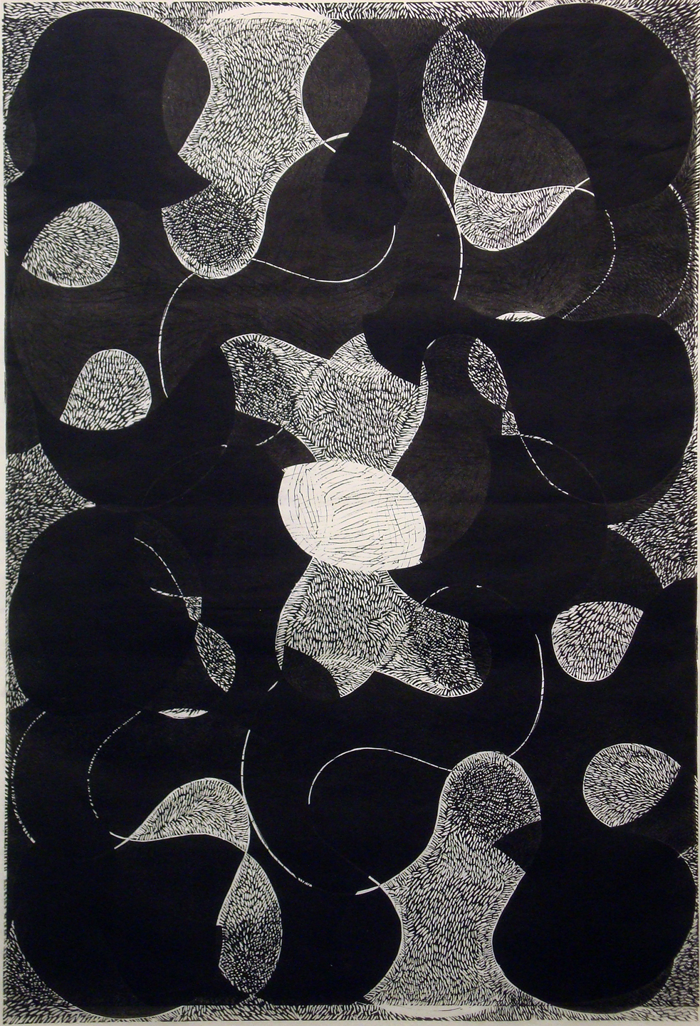 "Prop Series: Dark Night Flip, blockprint, 36""x24"""", 2013"