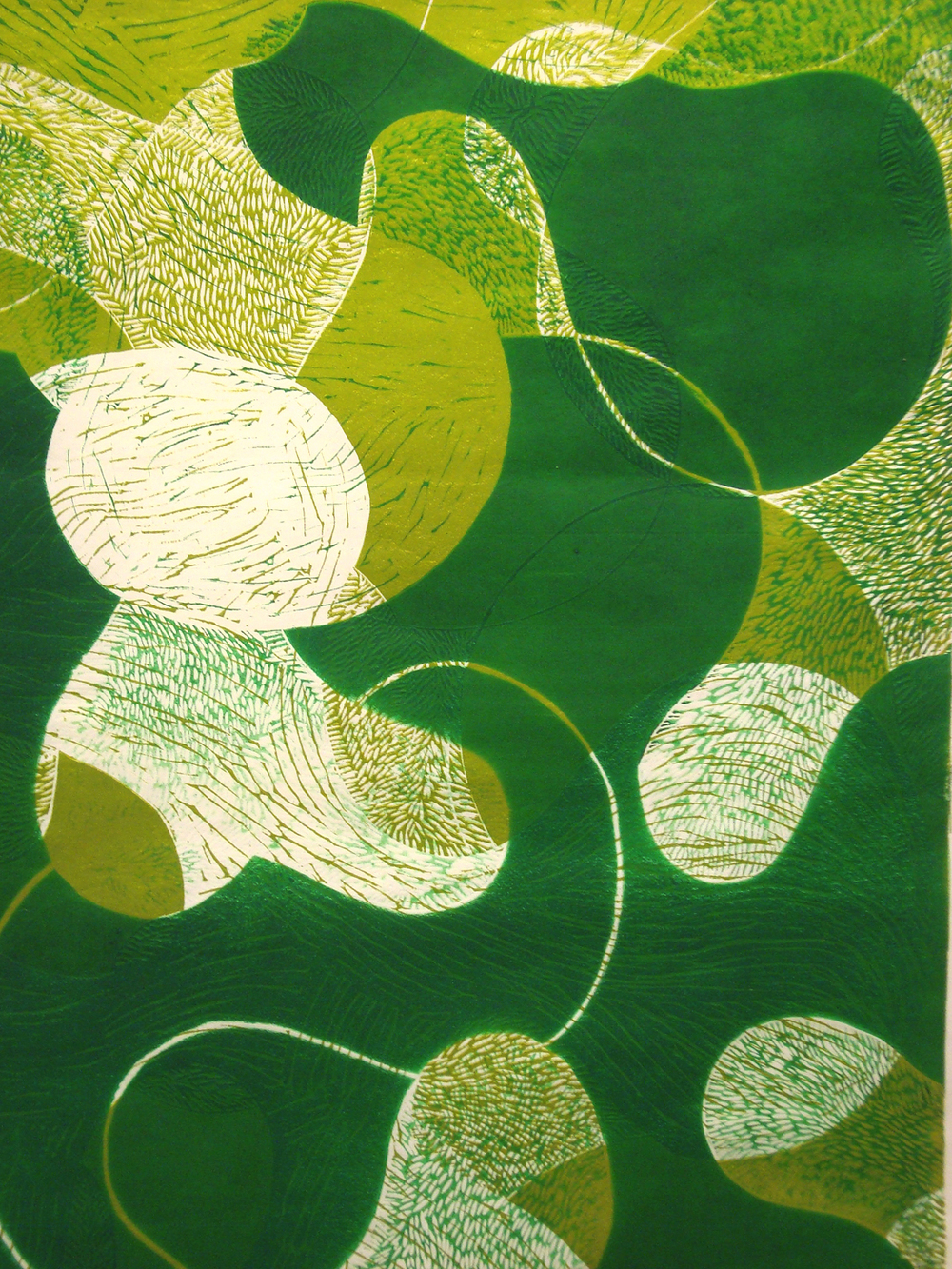 "Prop Series: Algae Flip, blockprint, detail, 36""x24"""", 2013"