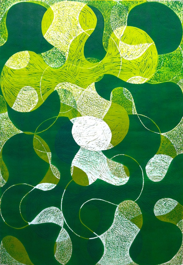 "Prop Series: Algae Flip, blockprint, 36""x24"""", 2013"