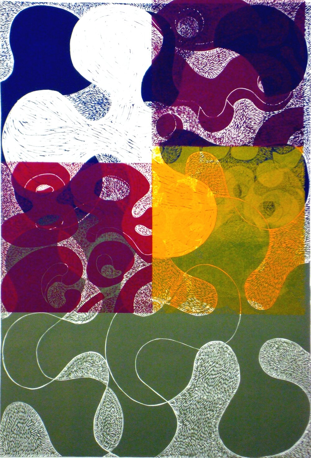 "Prop Series: Mix, blockprint, 36""x24"""", 2013"