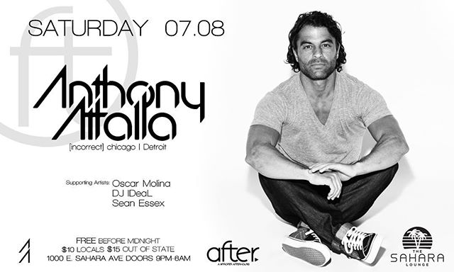We are pumped to have @anthonyattalla back at AFTER this Saturday! He always brings an epic show that is not to be missed. | Supporting sets by @oscarmolina_spacebyrdz , @djideal, Sean Essex | FREE before midnight | #AFTERarmy #AFTERhours #djrules