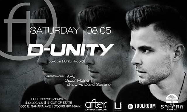 TONIGHT we have @d_unity back on our decks! Supporting sets by: Tavo, Oscar Molina, Teklow vs. David Serrano | NO COVER BEFORE MIDNIGHT | $10 locals | $15 out of state | Doors at 9 pm | #djrules