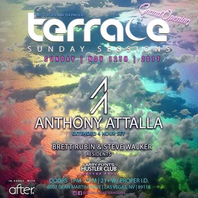 This SunDAY we welcome back one of our favorites @anthonyattalla to @terraceafterhours in association with AFTER., and you can't miss this because @brett_rubin is bringing us something new to Terrace... his weekly DAYTIME party. The show begins at 1pm-7pm. #djrules #AFTERlasvegas #incorrectmusic #techno #techhouse #deephouse #electronicmusic