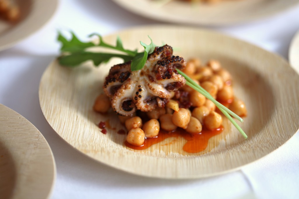 Bastille's Marinated Octopus with Chickpeas and Rooftop Arugula