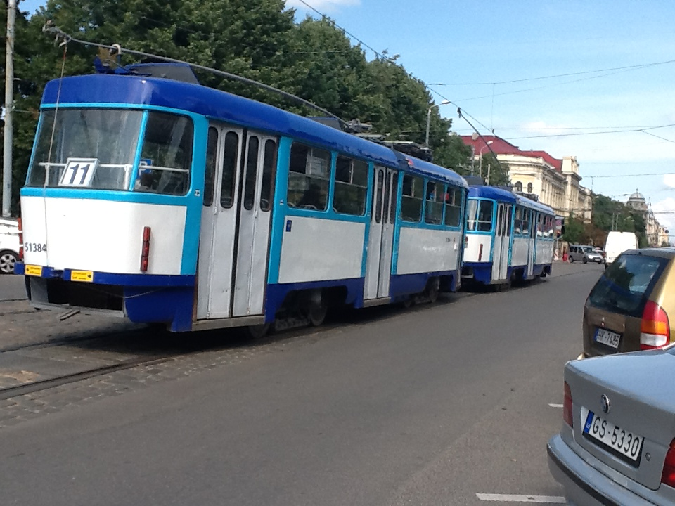 One of Riga's many trams