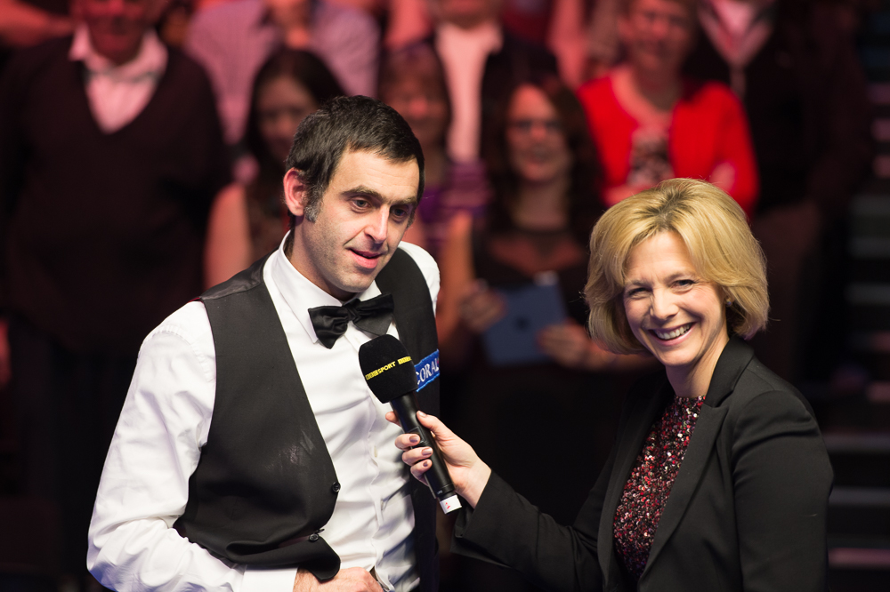 Ronnie O'Sullivan is interviewed by the BBC's Hazel Irvine