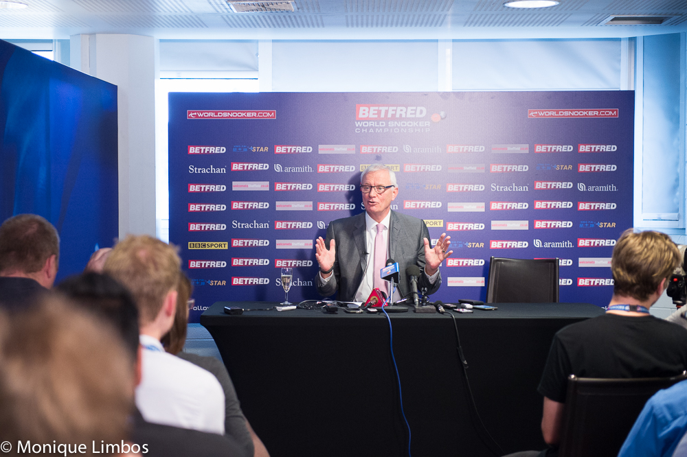 World Snooker chairman Barry Hearn faces the media at the Crucible