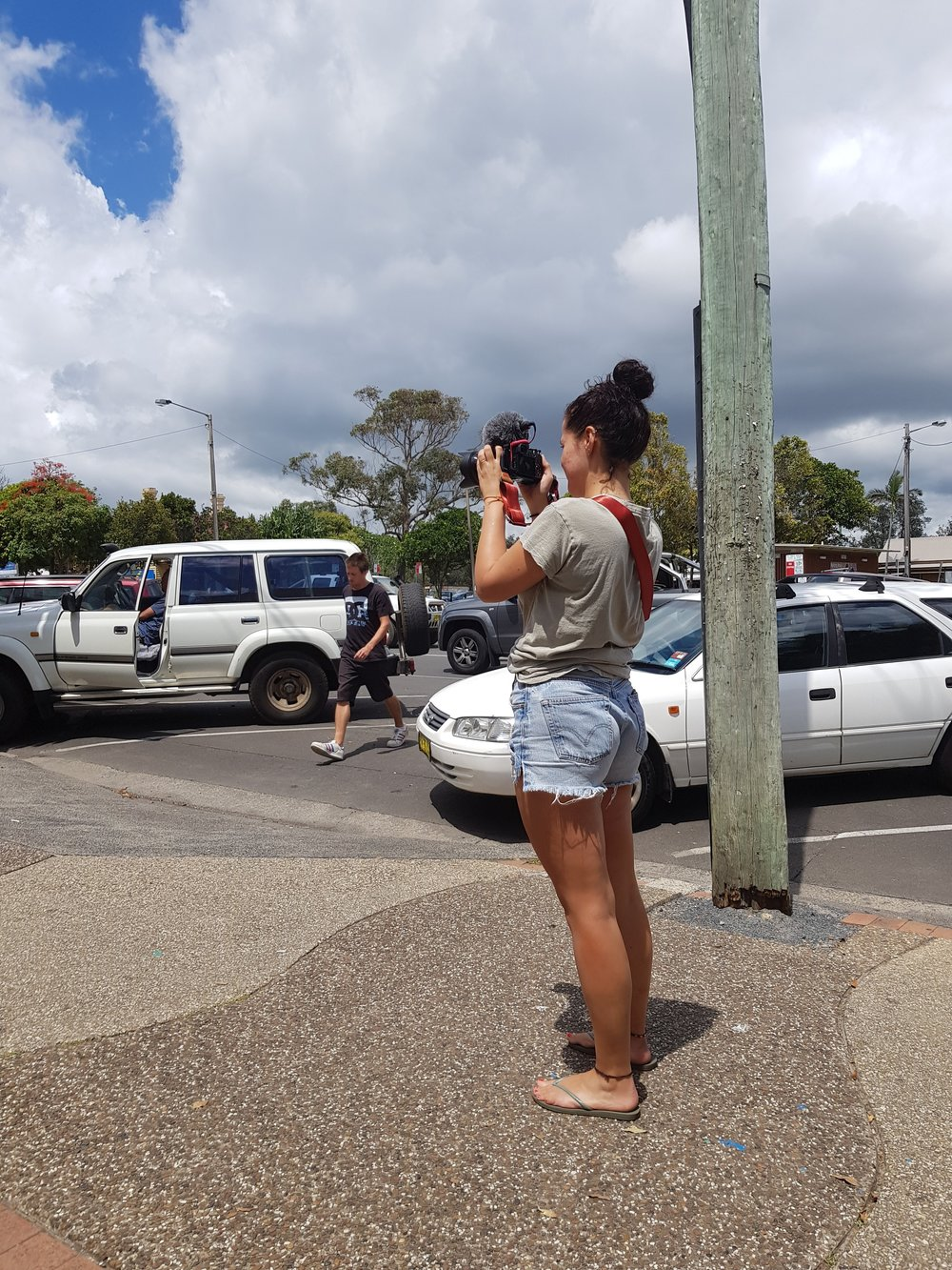 Getting some content for the next Vlog.  Main Street, Byron Bay