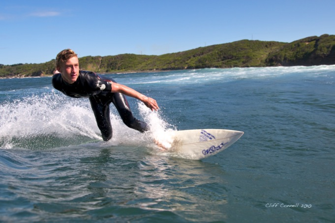 One of Shane's Waters Retro shortboards in action