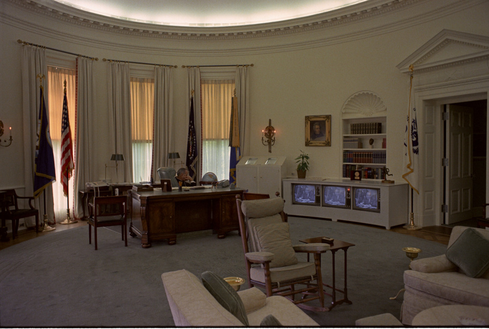 lbjlibrary :     June 3, 1967. LBJ watches his three television sets in the Oval Office. According to various sources (like  this one  and  this one ), LBJ's three TVs  inspired Elvis Presley to have the same at Graceland.    Photo C5602-28, LBJ Presidential Library, public domain.