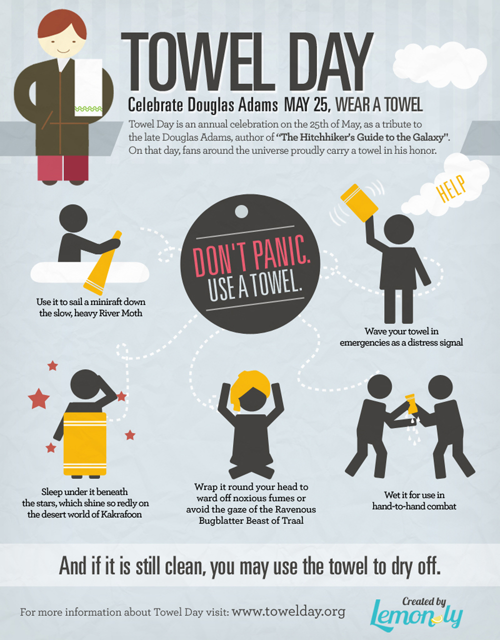 thekonietzkystrain :       Happy 2014 Towel Day!!!      Any man who can hitch the length and breadth of the galaxy, rough it, slum it, struggle against terrible odds, win through, and still knows where his towel is is clearly a man to be reckoned with.     Thanks to  Lemonly  for the great infographic. ;)   Share & Enjoy.