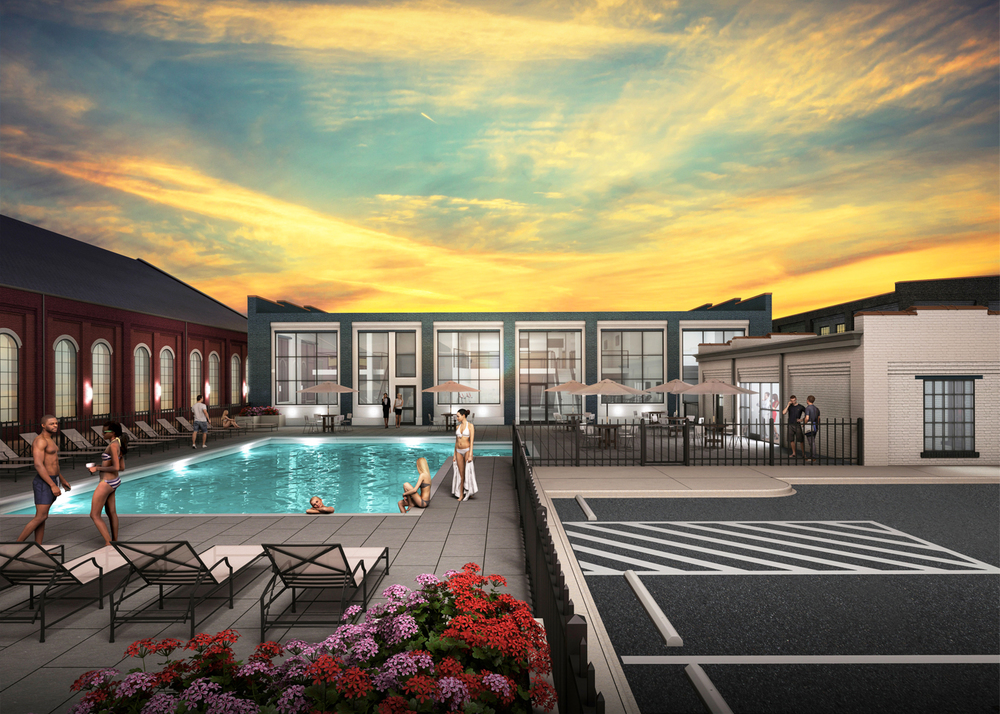 Project: GRTC Trolley Barn Adaptive Reuse                    Architect:  Walter Parks Architect                     View: sunset pool view