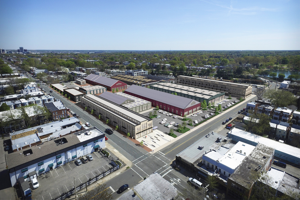 Project: GRTC Trolley Barn Adaptive Reuse                    Architect:  Walter Parks Architect                     View: overall aerial view (composite)